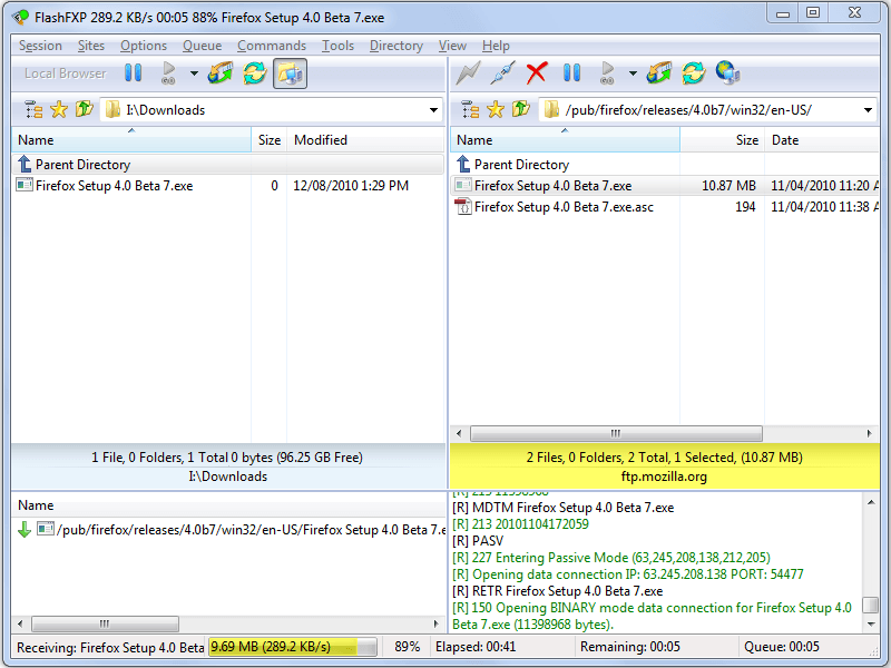 Click to view FlashFXP 4.2.3.1771 screenshot