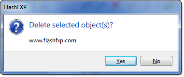 FlashFXP | Delete selected dialog