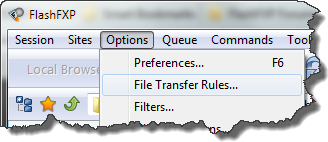 FlashFXP | Menu > Options > File Transfer Rules